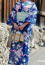 Japanese Women's Traditional YUKATA KIMONO Navy Flower pattern from JAPAN