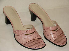 Franco Sarto Womens Pink Croc Leather Slide Sandal Shoe - Size 8M