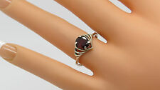 Lovely Vintage Oval Red Garnet Open Tiered Sterling Silver Size 7.5 Ring U962