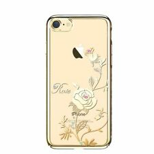SWAROVSKI Element Foliflora Rose Back Cover Case for iPhone 7-Gold Frame