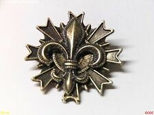 steampunk brooch badge bronze fleur de lys French heraldry monarchy lily scouts
