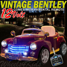 2015 CLASSIC VINTAGE BENTLEY 12V ELECTRIC KIDS RIDE ON CAR TOY + REMOTE CONTROL