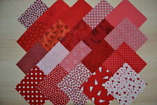Lot de 20 coupons de tissu patchwork Rouge