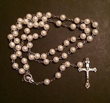 Catholic Glass Pearl rosary beads  with silver plated cross crucifix  - AAA