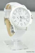 NWT Watch GUESS White Leather Multifunction New U11658G1