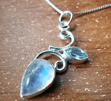 Super Nice Blue Fire Rainbow Moonstone Blue Topaz Pendant 925 Sterling Silver