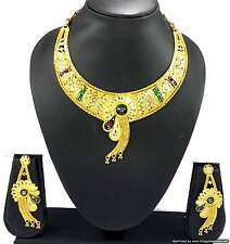 Gold Plated Necklace Earrings Jewelry set Bollywood Pretty Designer Jewellery