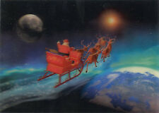 Santa in Sled Riding Across Globe - 3D Lenticular Postcard -Greeting Card
