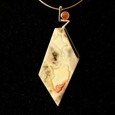 Natural White Crazy Lace Agate Pendant with Red Chalcedony in Silver Plate