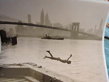 1944 Brooklyn Bridge Gay Skinny Dip Nude Cock NYC New York City Photo Skyline