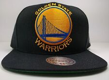 Golden State Warriors Mitchell & Ness XL Logo Black Current Snapback Hat NBA