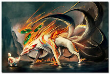 OKAMI FIRE GOD Hot Japanese Game Silk Fabric Poster 24x36 inch 001