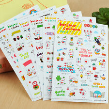 6 Sheets Cute Cartoon Stickers DIY Calendar Diary Book Scrapbook Crafts Set