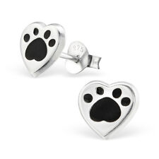 925 Sterling Silver Animal Paw Print LoveHeart Kids Girl Women Stud Earrings