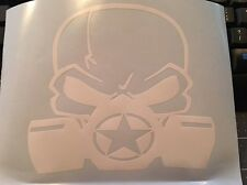 Army Military Star Jeep Vinyl Decal Biohazard Skull Mask WHITE