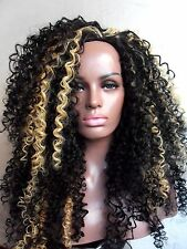 "Black #1b & Blonde mix long 25"" afro curly half 3/4 wig full cap instant weave"