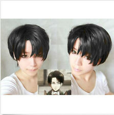 Cool Black Men/Boys/Women Short Straight Anime party Cosplay Full Wig+ Wig Cap