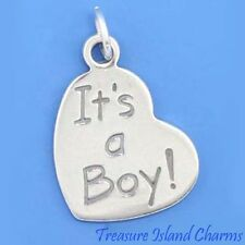 """IT'S A BOY"" HEART BABY .925 Solid Sterling Silver Charm Pendant"