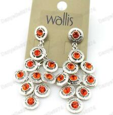 Rrp £ 12 Wallis Cristallo Lampadario Orecchini RED-ORANGE SILVER PLATED CON STRASS