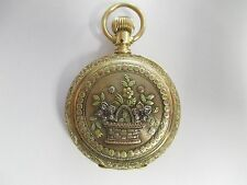 ANTIQUE 14K SOLID YELLOW GOLD MULTI-COLOR ELGIN POCKET WATCH RUBIES DIAMONDS