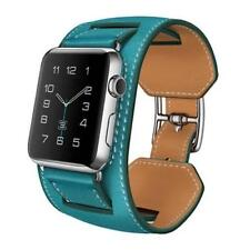 BEST QUALITY Leather Blue Cuff Bracelet Band Strap For Apple Watch iWatch 42MM