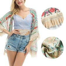 Womens Loose fit kimono cardigan jacket . Fits sz 10 to 14. BOHO Floral Fringed
