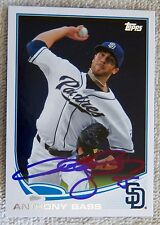 San Diego Padres Anthony Bass Signed 2013 Topps Auto Card