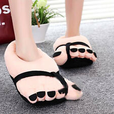 Winter Funny Cute Beige Soft Velvet Cartoon Big Feet Warm Home Floor Slippers