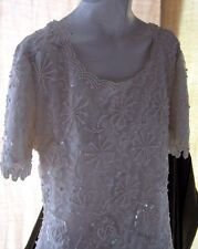 Beaded Lace Ivory Scala Short Sleeve Gown Dress Wedding Womens Medium Med White