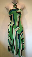 NEXT UK 8 gorgeous green mix halter neck assymetric dress with ties