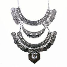 ANTIQUE VINTAGE STYLE STATEMENT NECKLACE COIN BIB AZTEC TRIBAL BOHO EGYPTIAN UK