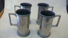 "Set of Four Vintage Hand Made Metal Drink Cups 4.5"" tall , Made in Hong Kong"