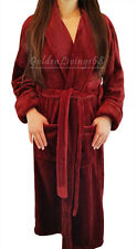 Women Burgundy Shawl Collar Velour Soft Plush Thick Bath Robe Warm Spa & Hotel