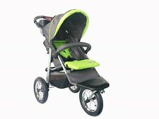 New MAMAKIDDIES 3 Wheel Grey / Green Pram Buggy Pushchair Jogger Stroller