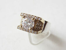 925 Sterling Silver Turkish Authentic Hurrem Sultan White Topaz Ring 9.75 HEART