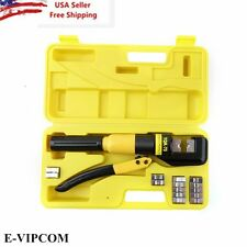 10 Ton Hydraulic Wire Battery Cable Lug Terminal Crimper Crimping Tool 9 Dies EM
