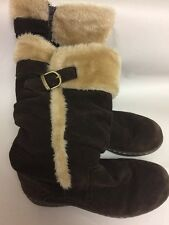Warm Cozy Winter Bare Traps Mid Calf Suede Boots Dark Brown Size 7M Ships FREE