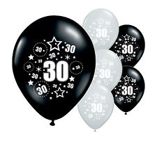 "16 x 30TH BIRTHDAY BLACK AND SILVER 11"" HELIUM OR AIRFILL BALLOONS (PA)"