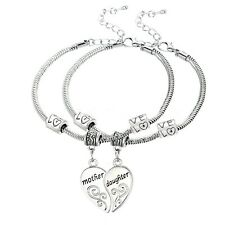 lovely Mother and Daughter Love Heart Charm Bracelets 2PC SET