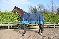 MID - LIGHTWEIGHT turnout rug with100gm fill horse & pony sizes navy/aqua
