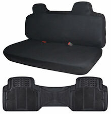 Black Cloth Truck Front Bench Seat Cover & Rubber Floor Mat Liner Runner