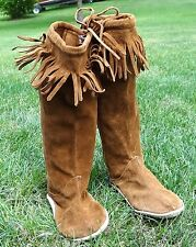 Vtg Handmade Western American Leather Fringe Native Boots Indian Moccasins