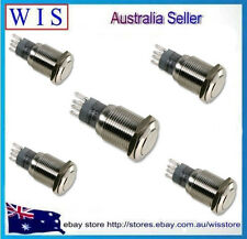 5pcs/PK 16mm 12V Stainless Steel Push Button Switch for Car Vehicle Silver-61106