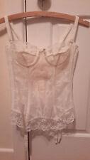 Vintage St Michael M&S Ivory Lace Boned Corset Bustier Top & Suspenders Size 36A
