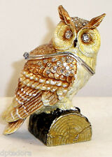 HIDDEN TREASURE OWL BEJEWELED HINGED TRINKET / JEWELRY /  PILL BOX