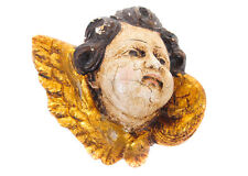"""19th c. Italian Cherub Carved 8"""" Gilt Wood Polychrome Angel Head"""