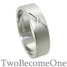 Handmade Mens Diamond Wedding Ring 9ct White Gold Flat Court 6.5mm Band 9.2g