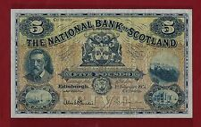 SCOTLAND THE NATIONAL BANK 5 POUNDS 1951 P-259 EF RARE ( Great Britain UK )