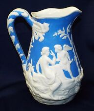 Old Antique Large PARIAN WARE Parian Marble White & Blue CHERUBS Water PITCHER