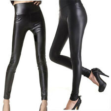 Women Full Length Shiny Wet Mat Look Faux Imitation Leather Leggings Pants